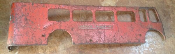 Original Tri-ang / Triang Large pressed steel Double decker Lower Right hand side panel Red [ price is per panel ]